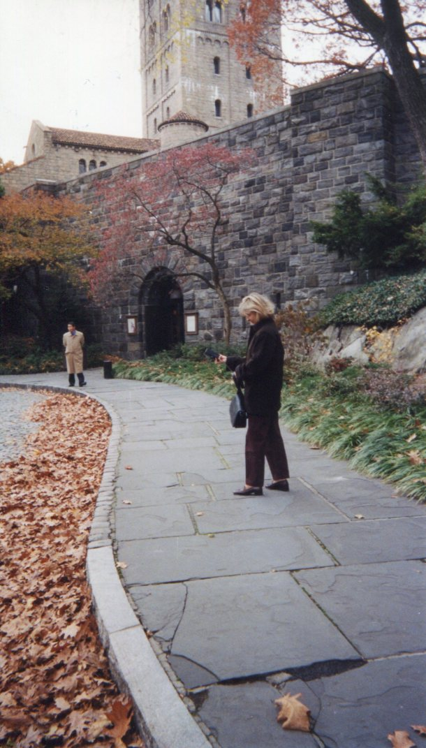 Lene just outside The Cloisters on an overcast November day
