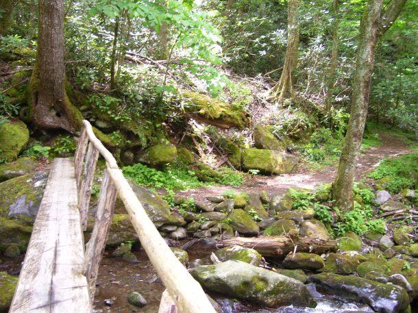 Iconic bridge crossing a stream