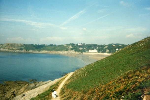 Cliff walk leading to Bracelet and Langland Bays