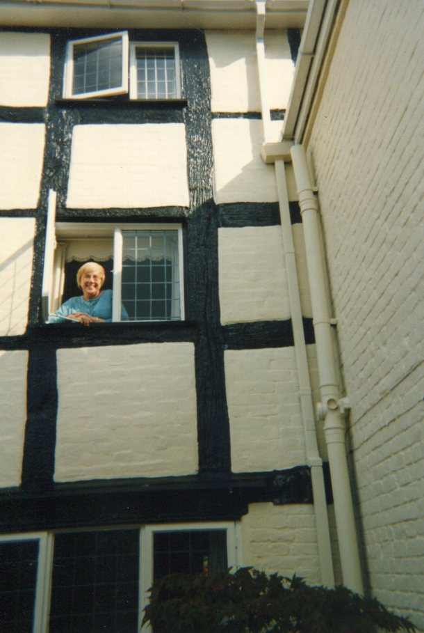Lee in window of Cowleigh Park Farm