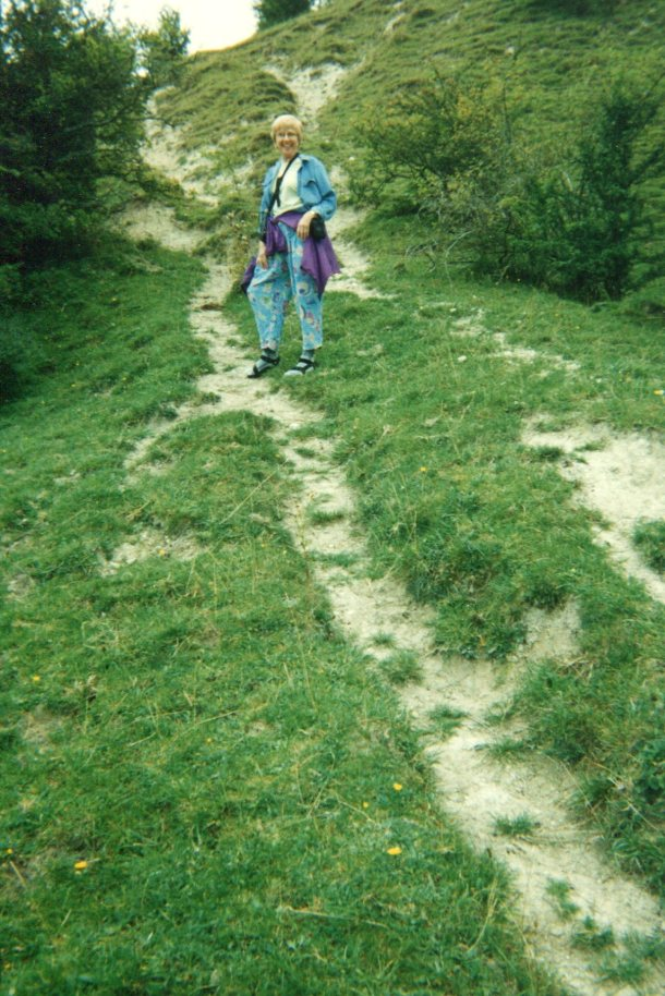 Climbing the hill in Broad Chalke to view the chalk drawings