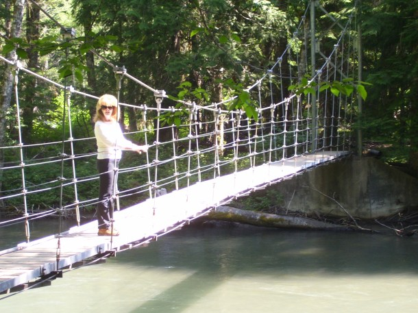 Wobbling on the suspension bridge on the Grove of the Patriarchs trail