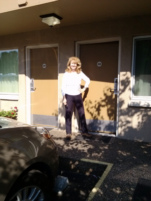Standing in front of my room at The Dalles Inn