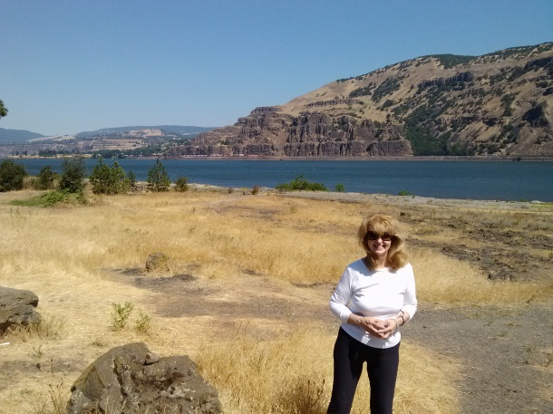 Standing on the banks of the Columbia River