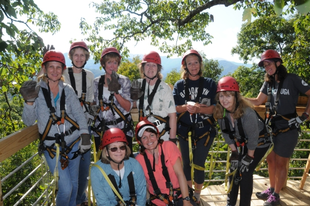 Zip lining in the Blue Ridge Mountains